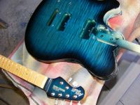 blue burst nitrocellulose on flamed maple © 2018 Guitar Angel
