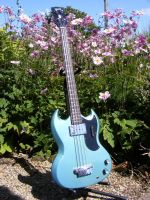 Gibson EB0 bass, 1967, full restoration and refinish in Pelham blue © 2017 Guitar Angel
