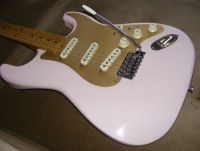 Fender strat refinished in pale shell pink © 2017 Guitar Angel