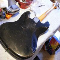 1964 Fender Jazz bass guitar body restoration © 2020 Guitar Angel
